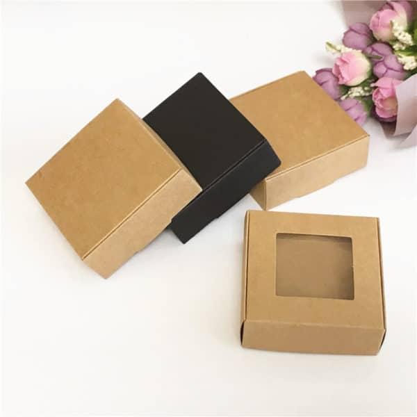 Boîte à savon carrée Kraft